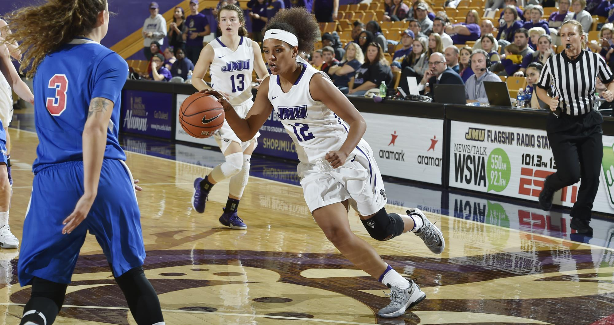 Women's Basketball: Dukes Battle to 76-70 Win at Elon Behind Hall's 41 Points