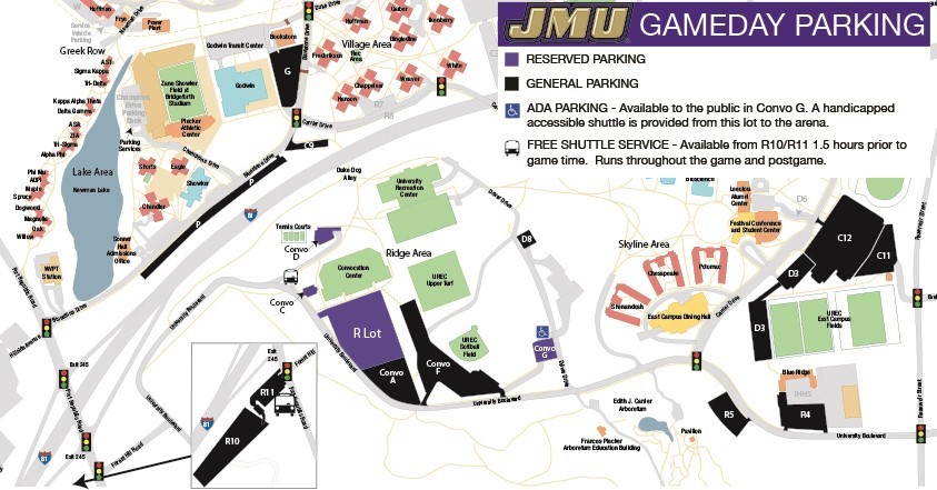 James Madison University - Us open tennis parking map