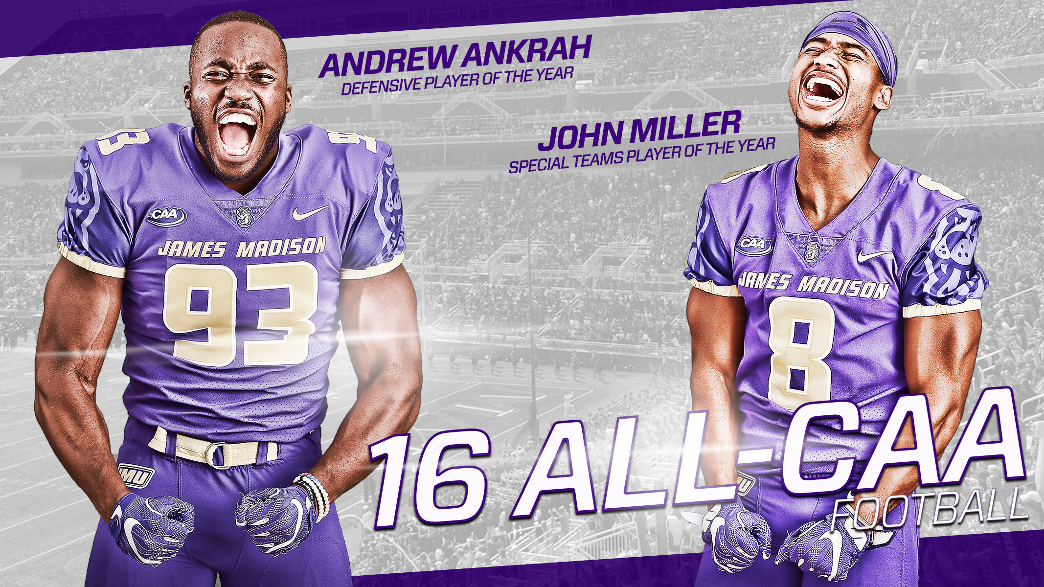 Football: Ankrah and Miller Headline 16 All-CAA Football Award Winners)
