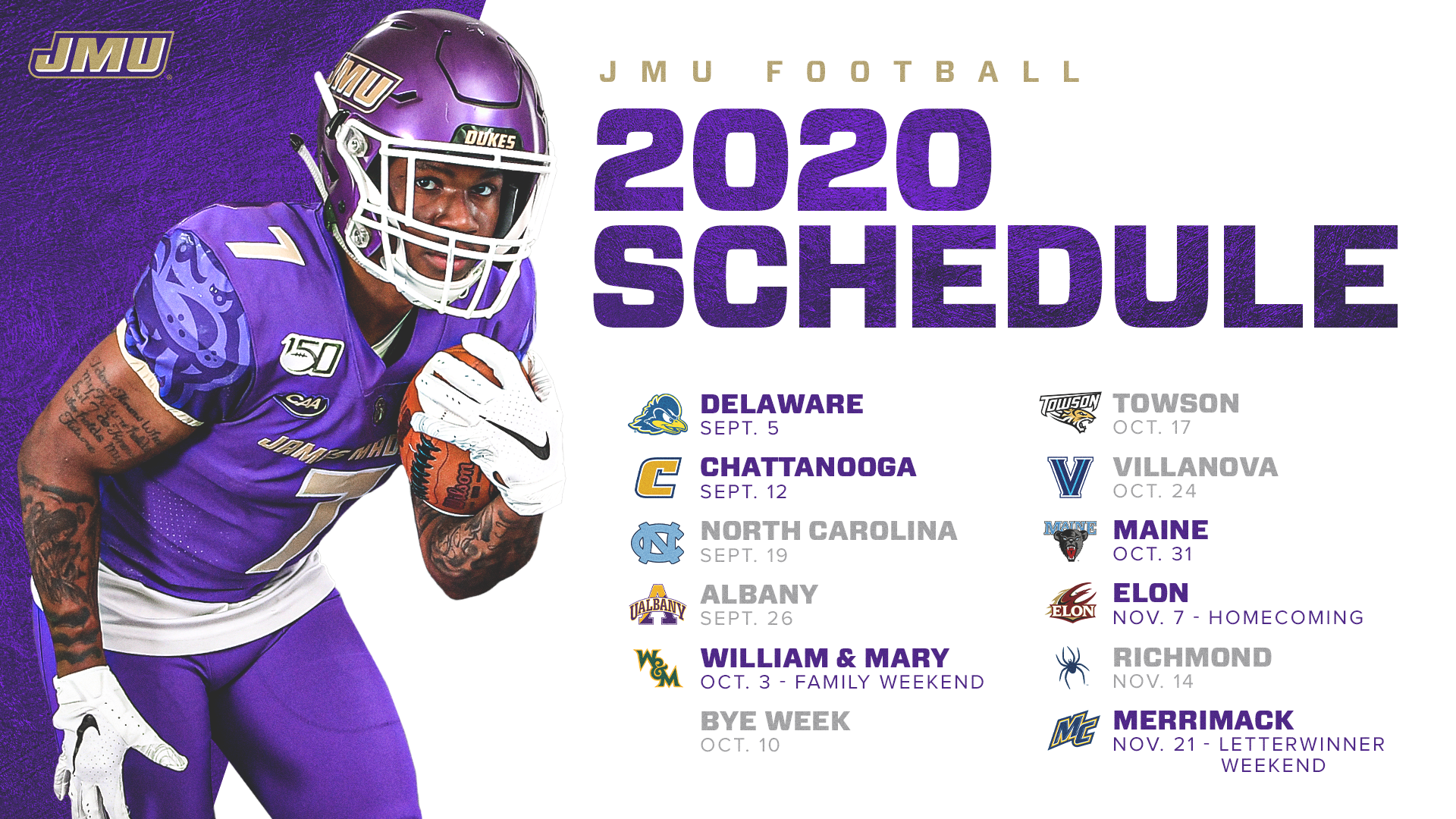 When Are Bowl Games Announced 2020.Jmu Unveils 2020 Football Schedule James Madison