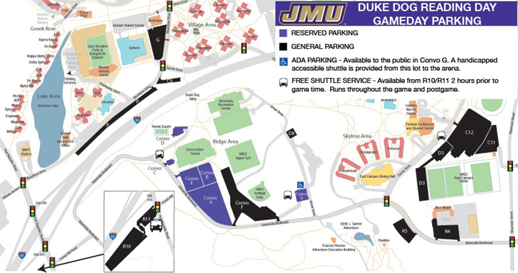 Jmu Parking Map Parking Information for Duke Dog Reading Day, Feb. 25   James