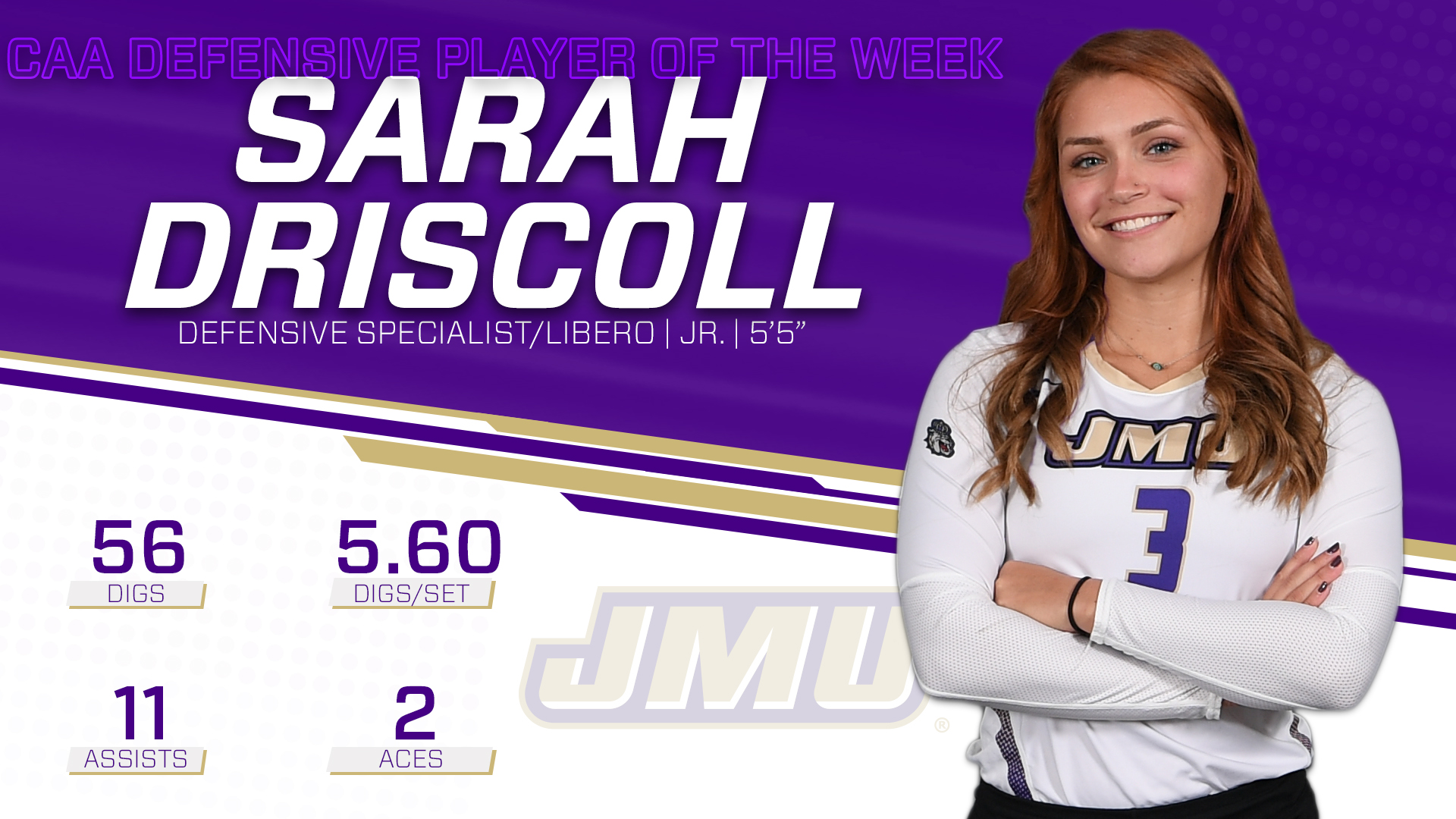 Women's Volleyball: Driscoll Tabbed CAA Defensive Player of the Week