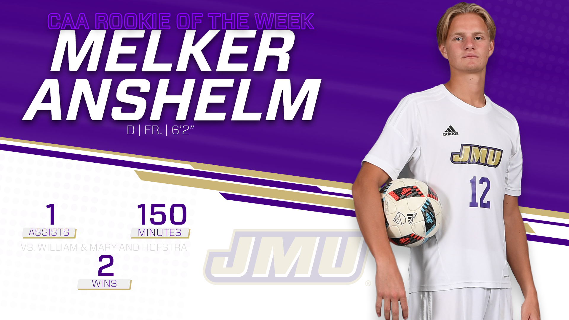 Men's Soccer: Anshelm Receives Second CAA Weekly Honor