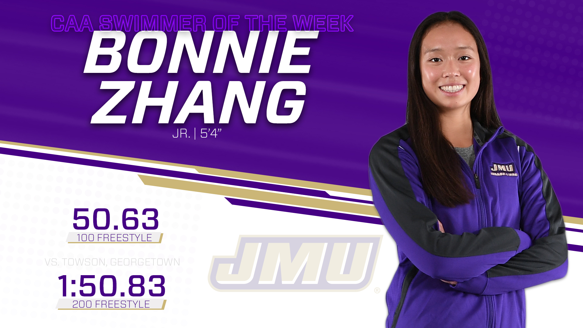 Women's Swimming and Diving: Zhang Claims First CAA Swimmer of Week
