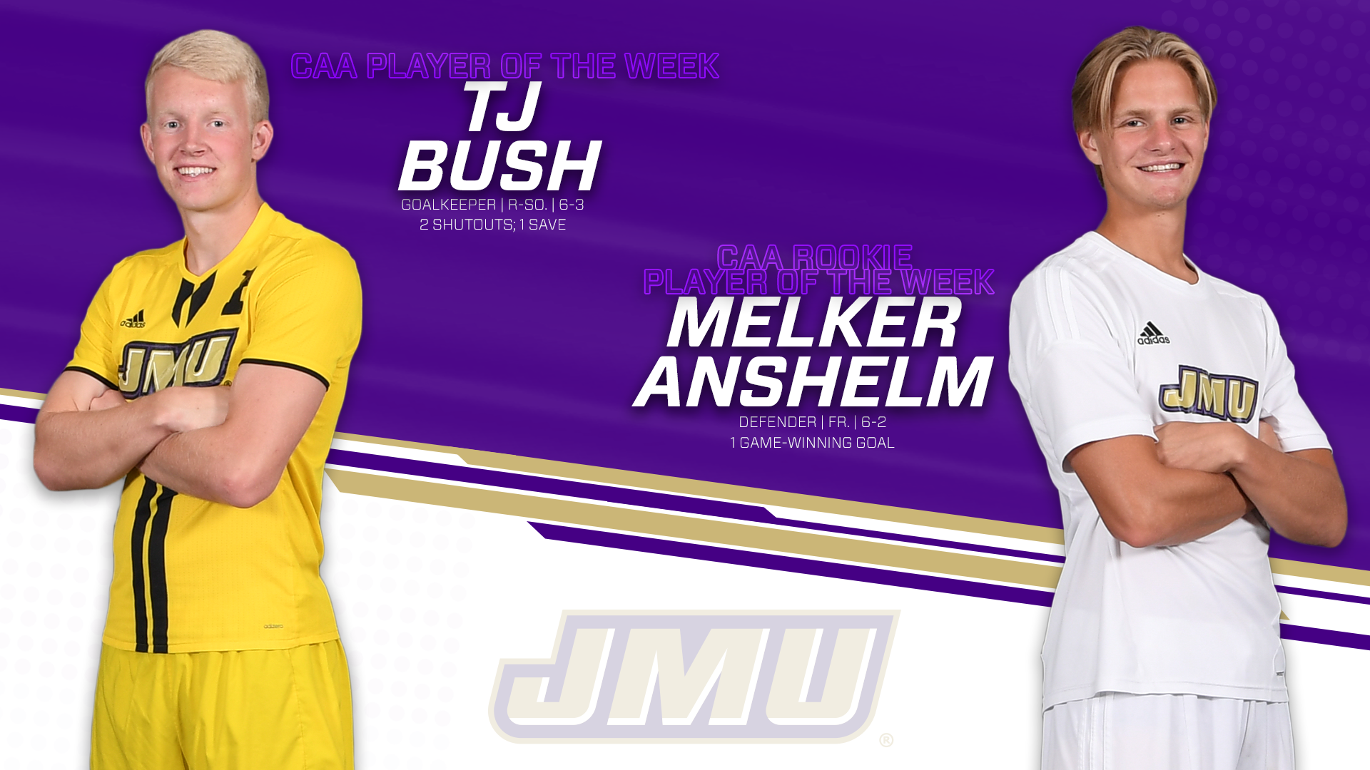 Men's Soccer: Bush, Anshelm Sweep CAA Weekly Honors