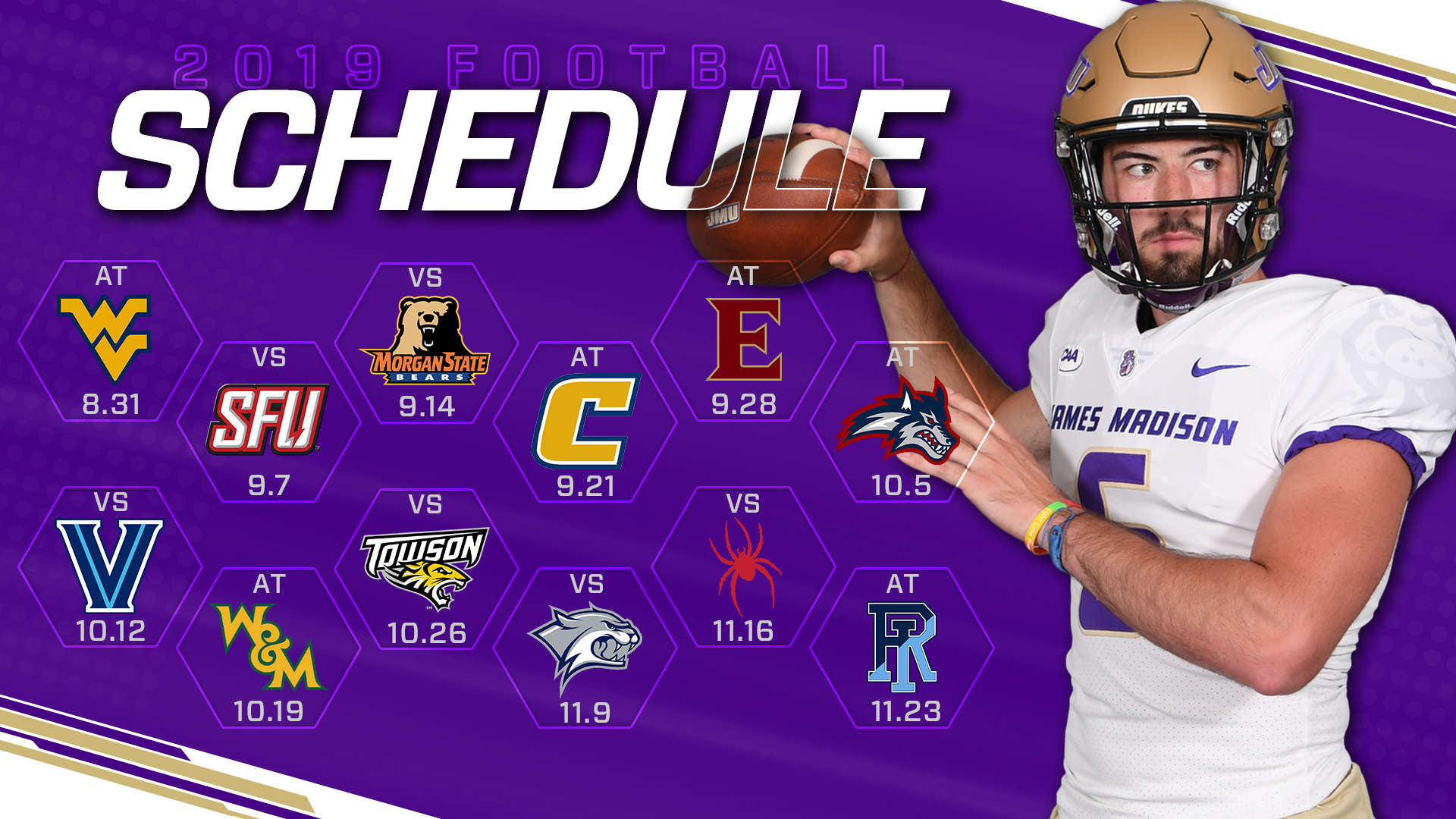 Wvu 2020 Football Schedule JMU Announces 12 Game Slate for 2019 Football Season   James