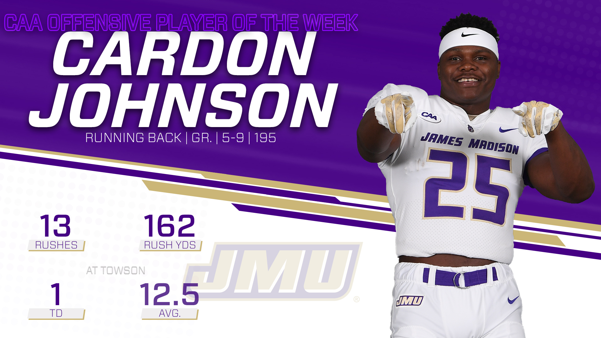 Football: Johnson Brings Home Final CAA Offensive Player of the Week of 2018