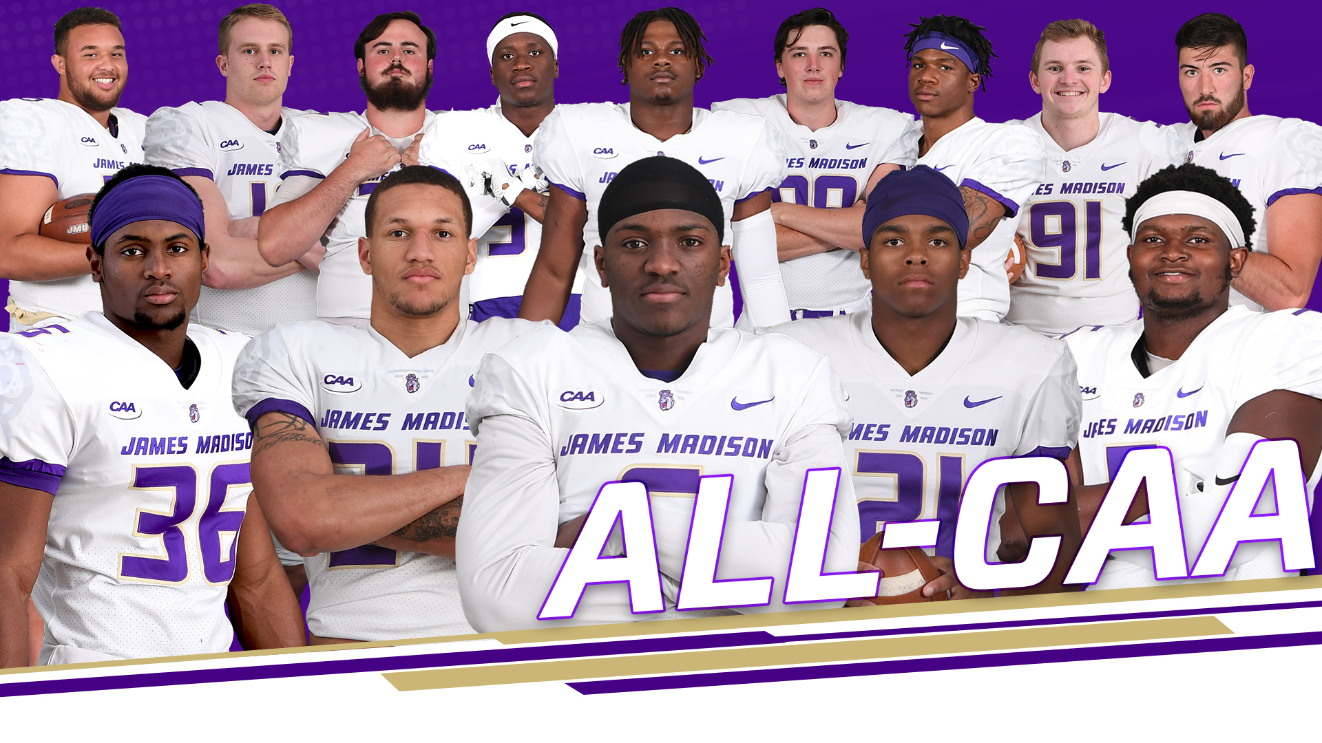 Football: Moreland Voted CAA's Top Defender, JMU Leads League with 14 All-CAA Honorees