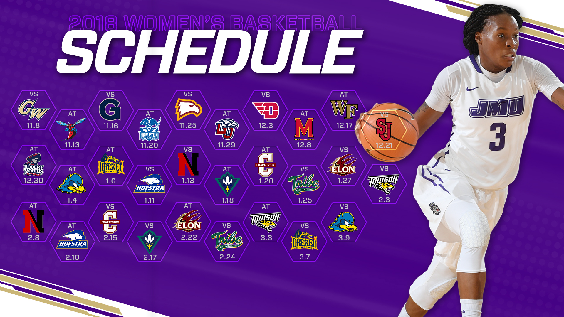 buy online f775f 98906 Women's Basketball 2018-19 Schedule Released - James Madison ...