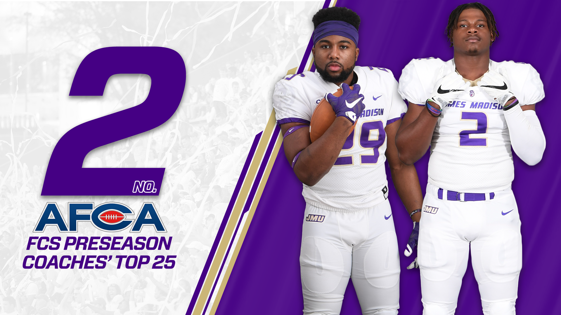 Football: Dukes Rank Second in First AFCA Coaches' Top 25