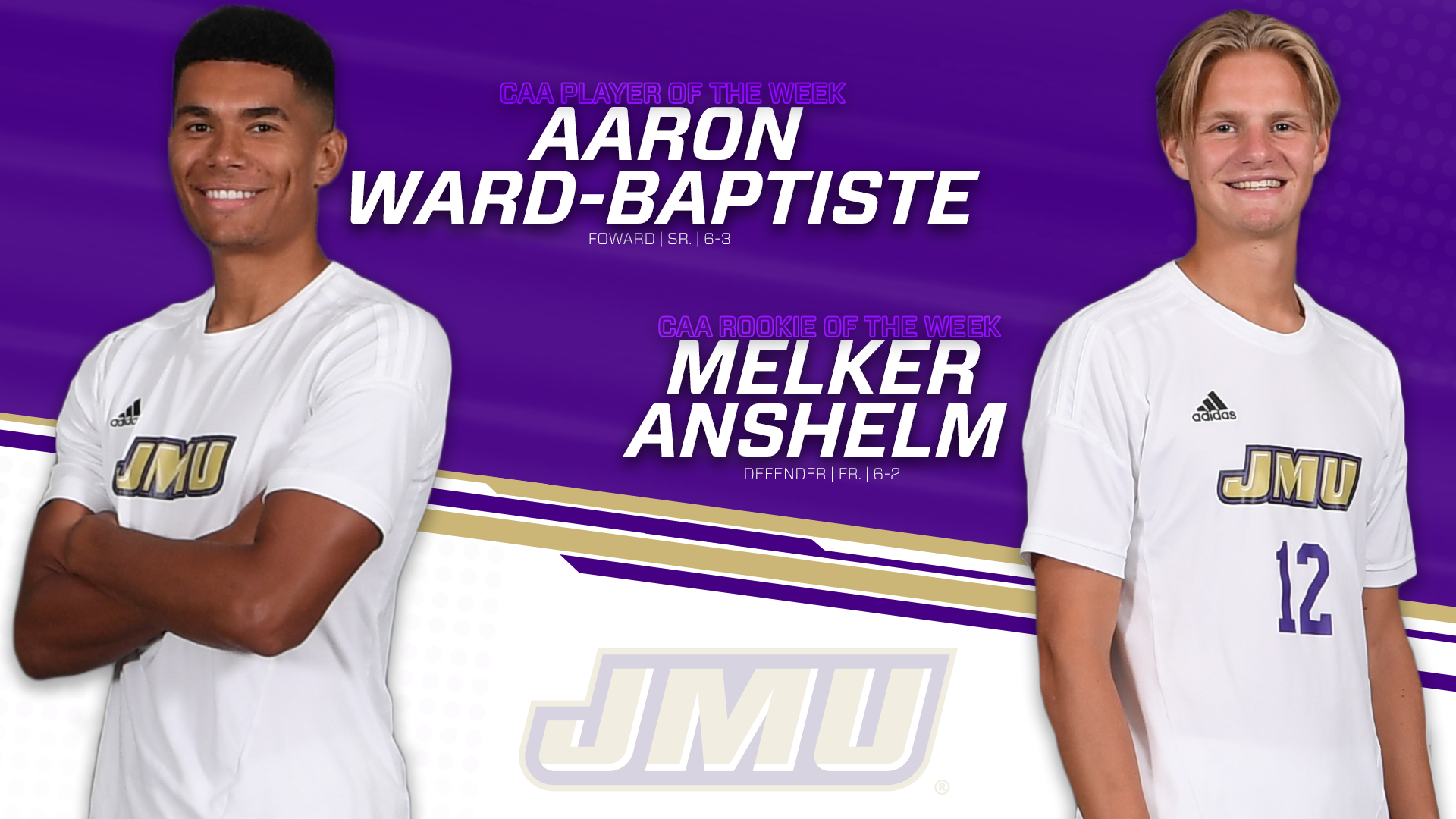 Men's Soccer: Ward-Baptiste, Anshelm Sweep CAA Weekly Honors