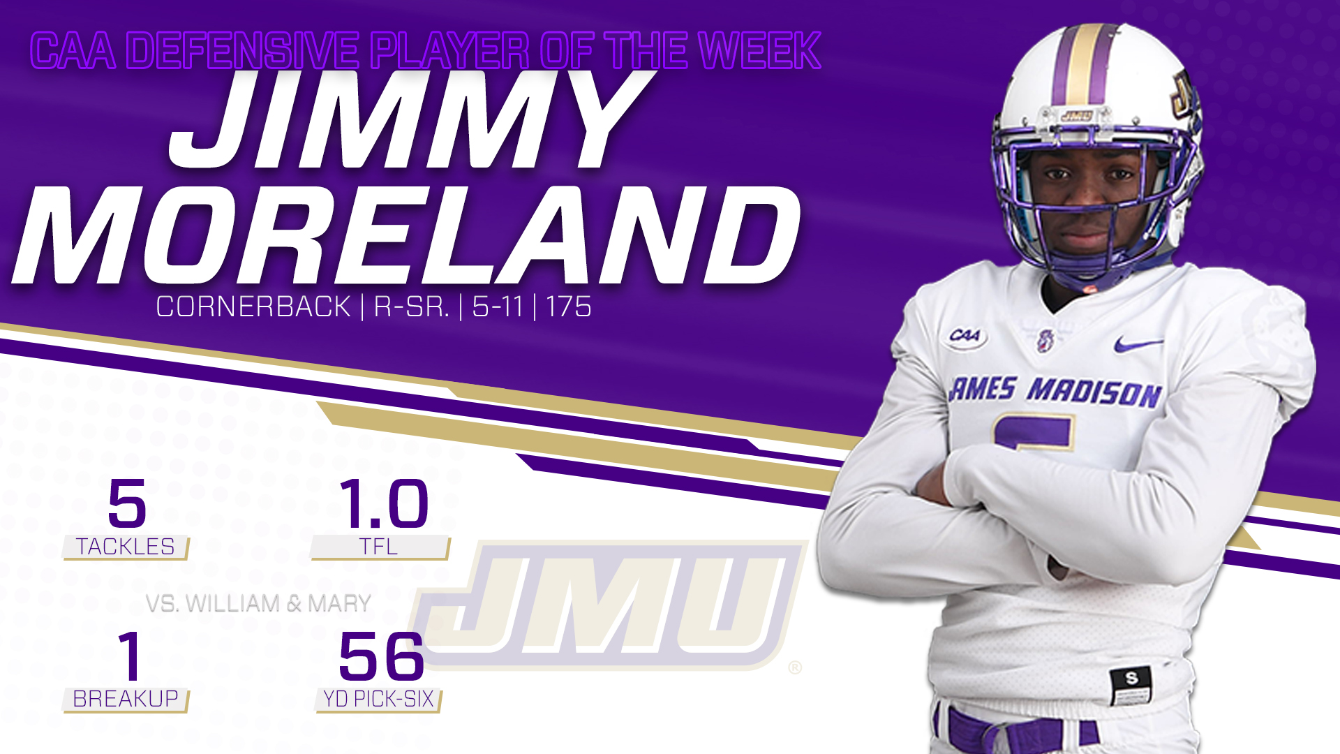 Football: Jimmy Moreland Takes Home CAA Defensive Player of the Week Honors