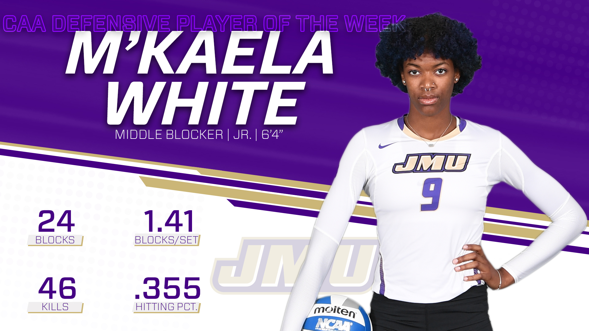 Women's Volleyball: White Earns CAA Defensive Player of the Week