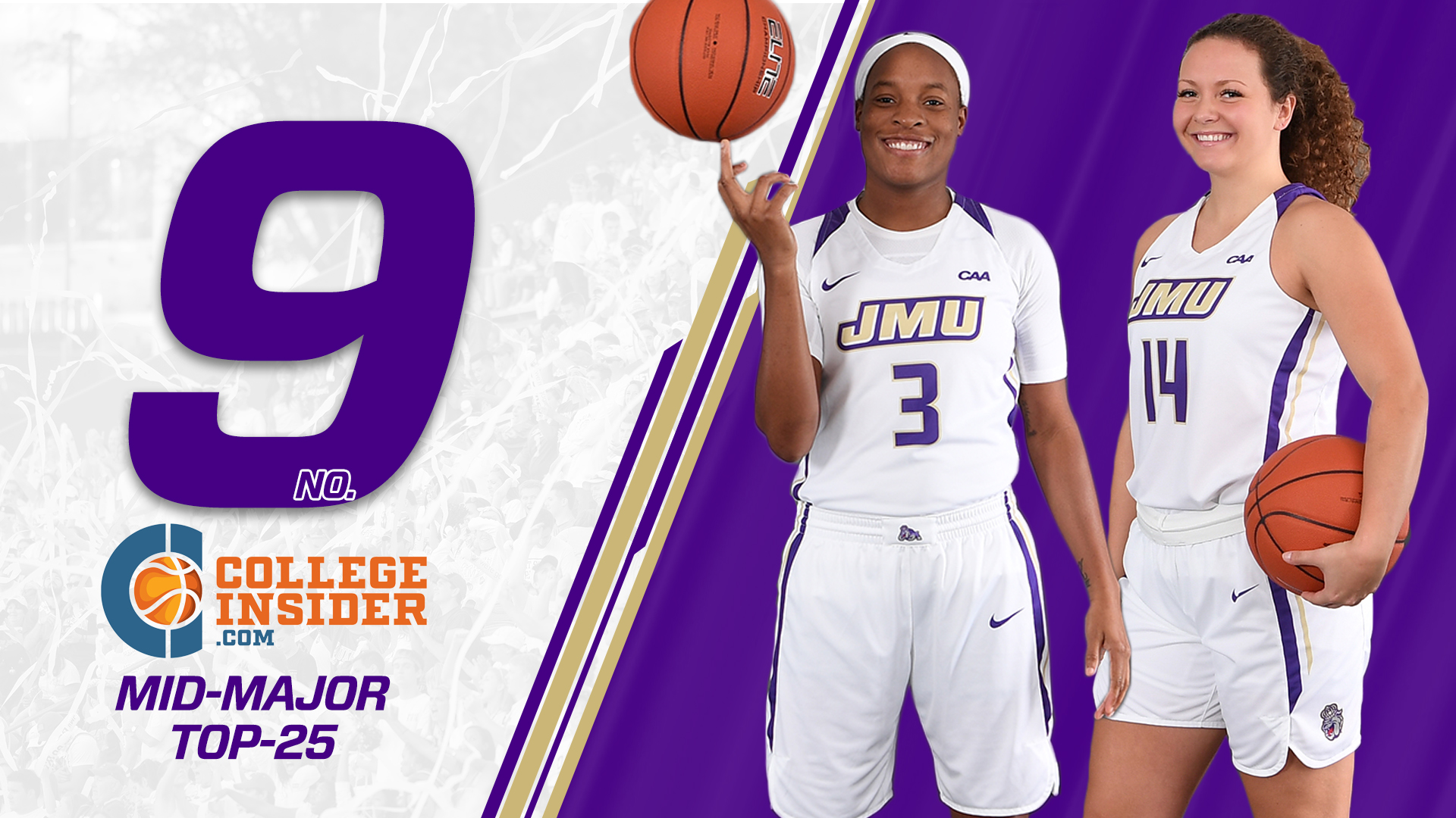 Women's Basketball: Dukes Come In At No. 9 in Mid-Major Poll