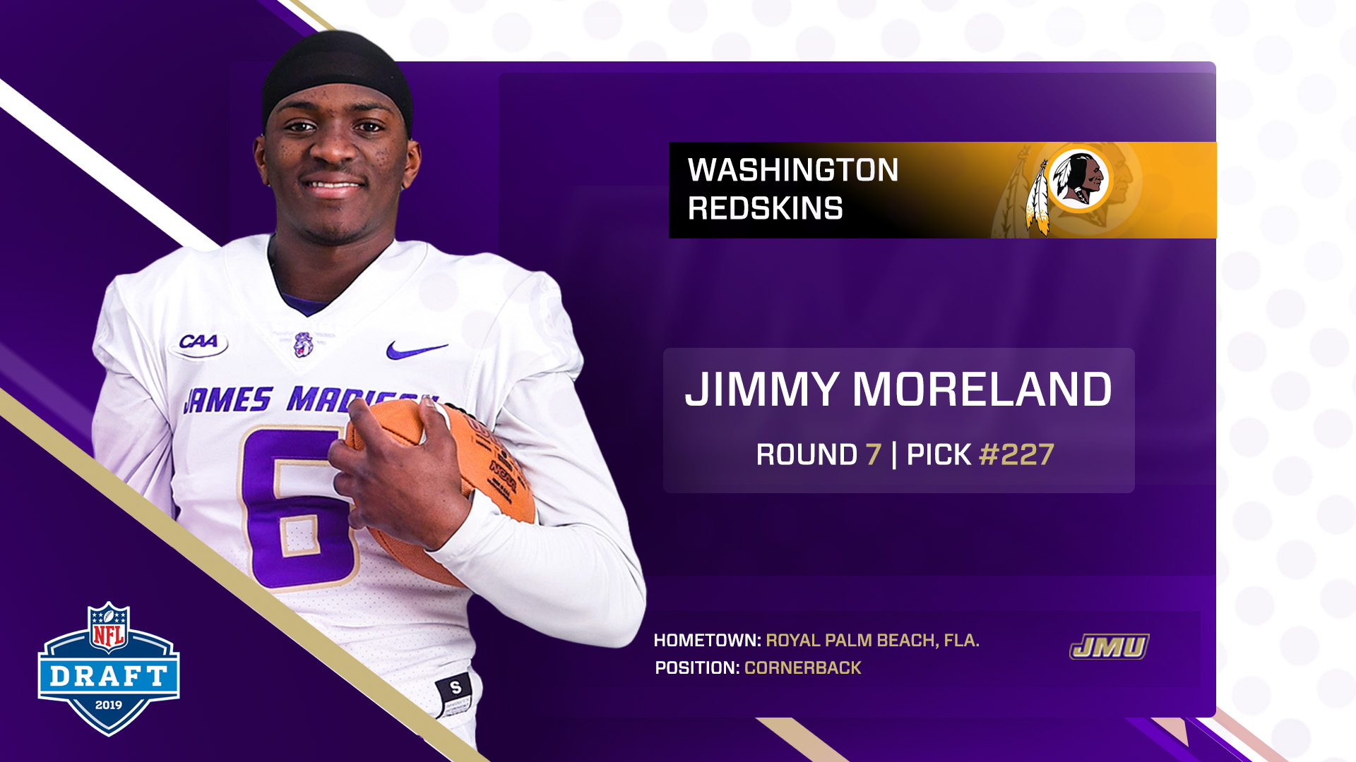 53cac81a9 Jimmy Moreland Drafted in Seventh Round by the Washington Redskins ...
