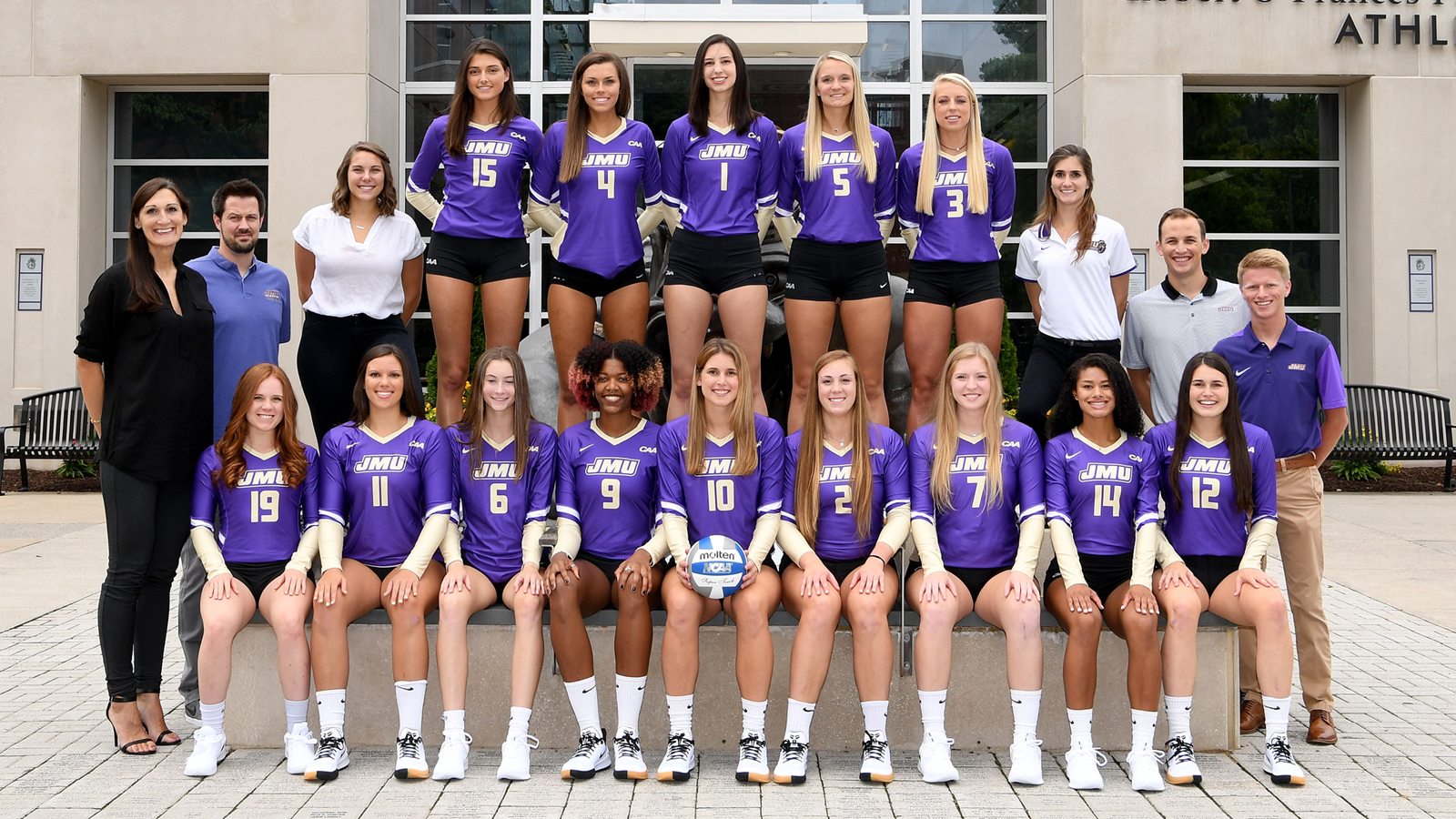 A team photo of the volleyball team